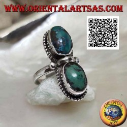 Silver ring with antique Tibetan turquoise oval specular surrounded by dots