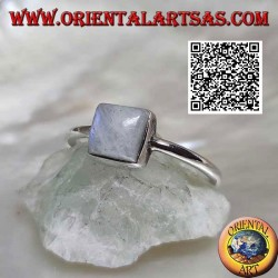 Silver ring with a square blue fluorescence white labradorite in a smooth setting