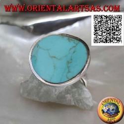 Bague en argent concave ronde lisse avec turquoise ronde centrale