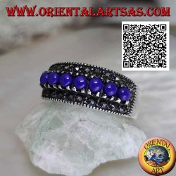 Silver ring with a row of lapis lazuli balls set surrounded by marcasite