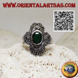 Silver ring with oval green agate surrounded by concentric decoration studded with marcasite