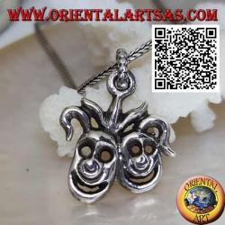 Silver pendant pair of smiling clown masks