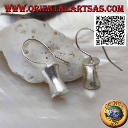 Satin silver pendant earrings with concave cylinder in the central part