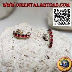 Silver earring, semicircle of red zircons with butterfly clasp (14 mm)