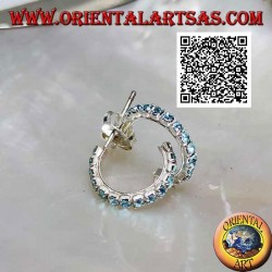 Silver earring, semicircle of light blue zircons with butterfly clasp (15 mm)