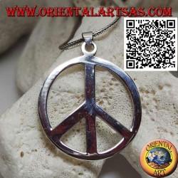قلادة فضية ناعمة وسميكة على شكل رمز السلام (قطر 40 مم).