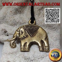 Typically decorated brass pendant representing an Asian elephant
