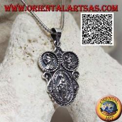 """Ciondolo in argento medaglia """"apparizione della Madonna"""" sotto il Cristo incoronato e San Cristoforo"""