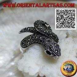 Bague en argent en forme de serpent enroulé parsemée de marcassite aux yeux d'onyx