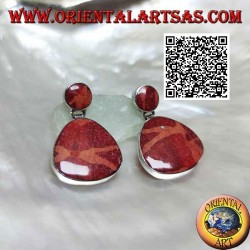 Silver lobe earrings with red coral (coral) in rounded triangle pendant