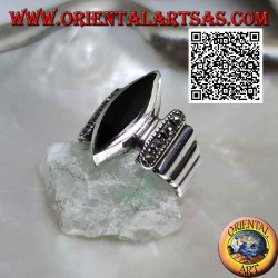 Silver ring with smooth vertical bands studded with marcasite with central shuttle onyx