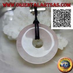Ciondolo di quarzo rosa a forma di ciambella da 28 mm. di diametro Ø completo cordoncino