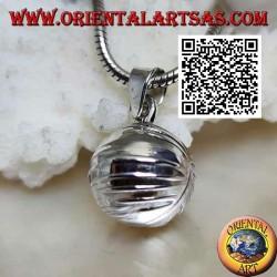 """Ciondolo in argento """"Chiama Angeli"""" liscio con linee orizzontali (Ø 14 mm.)"""