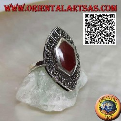 Silver ring with elongated hexagonal carnelian on a shuttle setting studded with marcasite