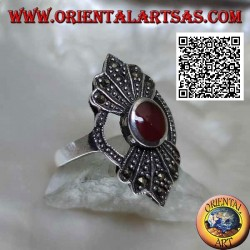 Silver ring with round carnelian in the circle with a 5-shaped fan of marcasite above and below