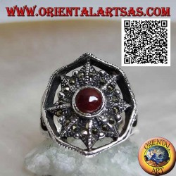Silver ring with carnelian on eight-pointed star studded with marcasite in the circle