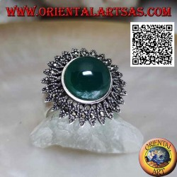 Silver sun ring with central cabochon round green agate and marcasite rays
