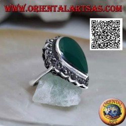 Silver ring with large teardrop green agate surrounded by marcasite