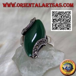 Silver ring with cabochon shuttle green agate attached by two marcasite semicircles