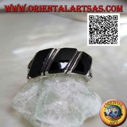 Silver ring with three oblique bands of onyx and marcasite on the sides