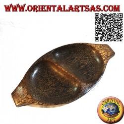 Svuotatasche vassoio ovale a doppio scomparto in legno di cocco