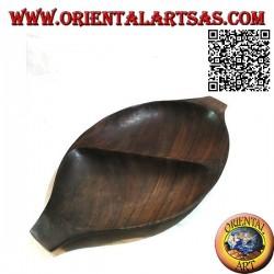 Ovales Tablett mit Taschenentleerung und Doppelfach aus Teakholz