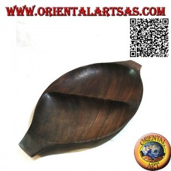 Pocket emptier oval tray with double compartment in teak wood