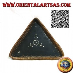 Lombok triangular tray valet tray in mahogany wood, wicker edge and mother-of-pearl inlays (large)