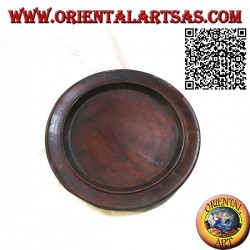 Round tray valet tray of the aborigines of Lombok in bordeaux mahogany wood (30 cm Ø)