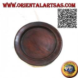 Rundes Tablett Valet Tablett der Ureinwohner von Lombok aus Bordeaux-Mahagoniholz (30 cm Ø)
