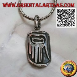 Silver pendant medal with aboriginal hand of primitives in bas-relief