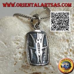 Ciondolo in argento medaglietta con scarabeo stercorario (simbolo egiziano di resurrezione) in bassorilievo