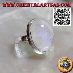 Bague en argent avec pierre de lune ovale grand cabochon ovale sur lisse