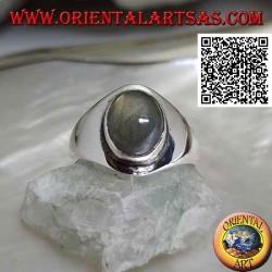 Bague en argent avec pierre de lune cabochon ovale sur serti lisse
