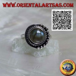 Silver ring with round labradorite surrounded by intertwining and balls only on one half