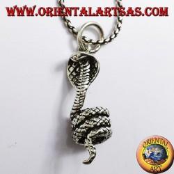 pendant cobra coiled silver