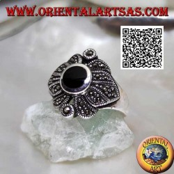 Silver ring with round oval onyx on floral decoration studded with marcasite