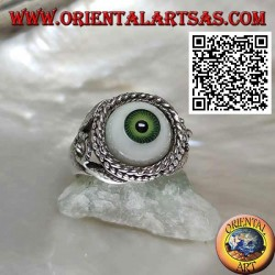 Silver ring with eye with green pupil surrounded by interweaving