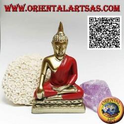 """Scultura Buddha """"Bhumisparsha Mudra - Sottomettendo il demone Mara"""" in resina (oro e rosso) 11 cm"""