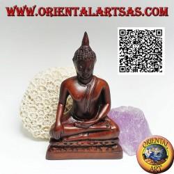 "Buddha sculpture ""Bhumisparsha Mudra - Subduing the demon Mara"" in resin (walnut color) 11 cm"