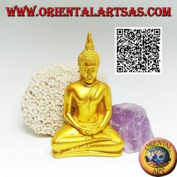 """Buddha sculpture """"Dhyana Mudra - symbol of meditation and wisdom"""" on the altar in resin (golden) 10 cm"""
