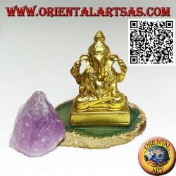 """Scultura Ganesh """"il Dio elefante"""" seduto, in resina (dorato 7,5 cm)"""