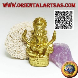 """Ganesh sculpture """"the elephant God"""" sitting with book and halo, in resin (golden 8 cm)"""