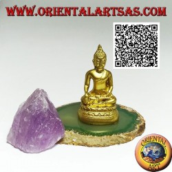 "Buddha sculpture ""Bhumisparsha Mudra - Subduing the demon Mara"" in resin (golden) 6 cm"