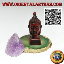 Head of Buddha (the one who is enlightened / awakened to the ultimate reality) in resin, 7.5 cm walnut color