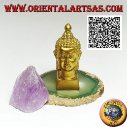 Head of Buddha (he who is enlightened / awakened to the ultimate reality) in resin, 7.5 cm gilded