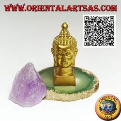 Testa di Buddha (colui che si è illuminato/risvegliato alla realtà ultima) in resina, dorato da 7,5 cm