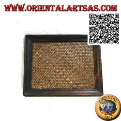 Rectangular tray in teak wood and center in woven wicker (25 x 20)