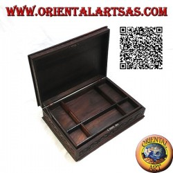 Jewelery box with lock and shelf, in Sonokeling wood (Indonesian ebony) with floral inlays