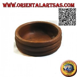 Low pocket emptier bowl with triple rounded edge in teak wood